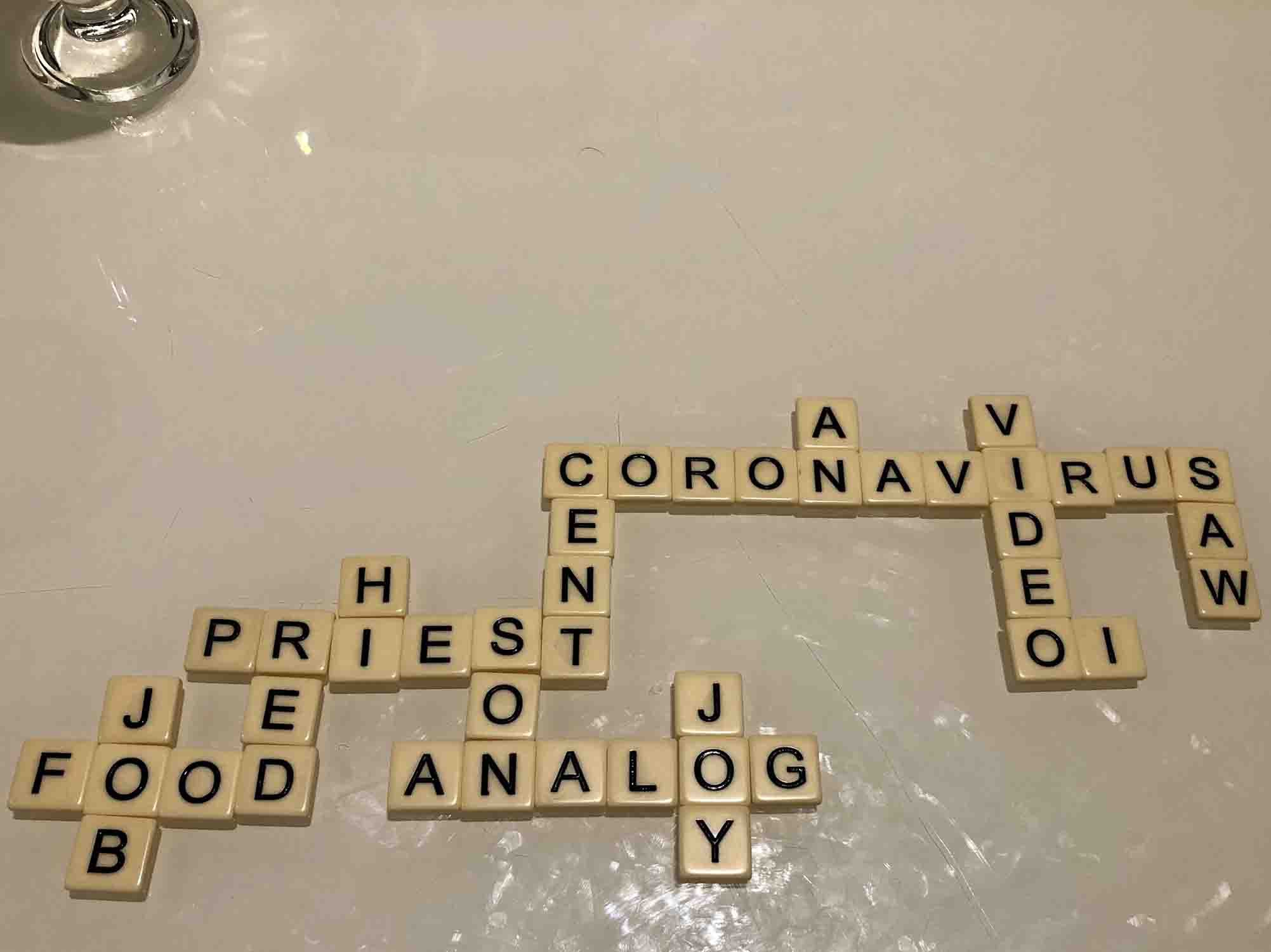 CORONAVIRUS spelt out in a game of Bananagrams