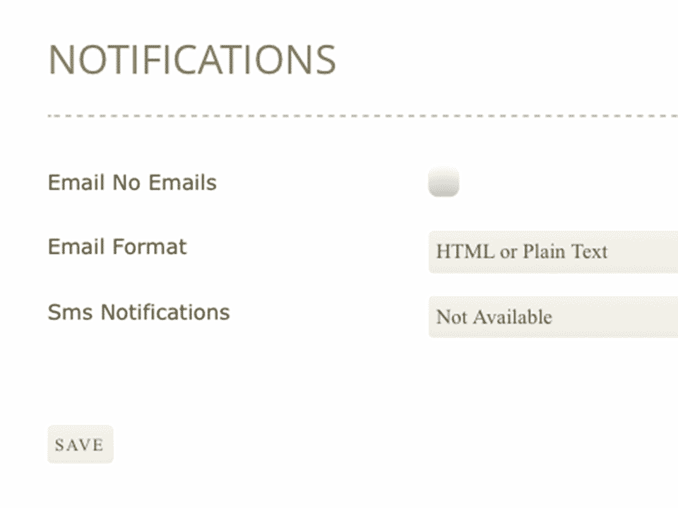 "Header ""Notifications"", label ""Email No Emails"", checkbox"
